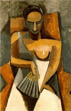 """""""Mujer con un abanico"""" (Woman with a Fan; 1907) by Pablo Picasso. Oil on canvas; Cubism; his African period; The Hermitage (St. Petersburg). Volumetric study of a woman whose features are simplified into spheres and triangles and suggests a sculptor at work."""