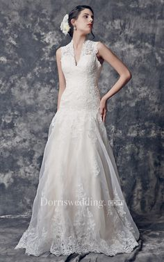 #Valentines #AdoreWe #Dorris Wedding - #Dorris Wedding Vintage V-neck Lace Gown With Keyhole Back Style - AdoreWe.com