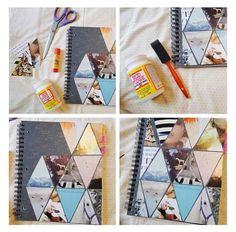 diy notebook decor.  Just cut pictures into triangles, fit, glue on, and modge podge when done!  Johnston  http://johnstonmurphymensclothing.gr8.com  More Mens Fashion   Johnston & Murphy  http://johnstonmurphy.gr8.com #diy http://pinterest.com/ahaishopping/