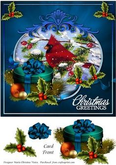Blue Christmas Greetings on Craftsuprint designed by Maria Christina Vieira  - Approx. 8x8 Christmas Greeting Card front with a lovely Cardinal painting and a greeting at the bottom right side of the card front( Christmas Greetings) in a gorgeous blue setting. - Now available for download!