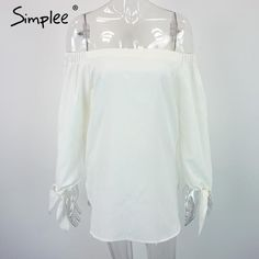 Simplee Apparel Elegant bow blue off shoulder female blouse shirt Sexy summer 2016 girls white blouse Women tops striped blusas