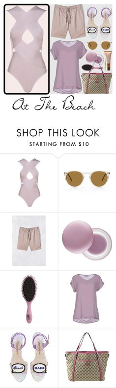 """""""At The Beach"""" by ladygroovenyc ❤ liked on Polyvore featuring Katin, It's skin, Topshop, Alpha Studio, Sophia Webster, Gucci, Sensai, beachstyle and summer2016"""