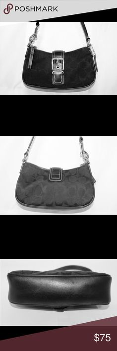 """Coach Black Canvas Clutch Bag With Straps Leather This is a great small bag. The straps are removable so you can carry as a clutch if you want.                                                 Multi-function Pockets:1 Exterior:  Strap drop: 5""""  Closure:Zip  Hardware:Silver tone  Hang tag:1  Size:Small/Mini Coach Bags Mini Bags"""
