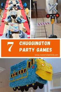 7 Chuggington birthday party games and activities for a Chuggington party. Party train conga anyone? Thomas The Train Birthday Party, Trains Birthday Party, Birthday Games, Baby First Birthday, First Birthday Parties, Train Games For Kids, Games For Toddlers, Chuggington Birthday, Train Party Supplies