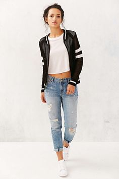 Knit bomber jacket #denim #jeans #boyfriend