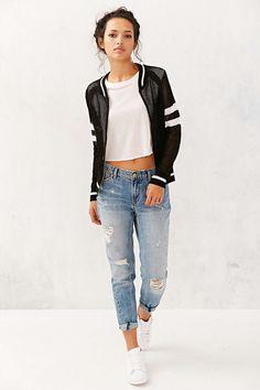 Knit bomber jacket #denim #jeans #boyfriend