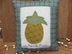 Primitive Appliqued Pineapple Pillow by RustyNeedlePrimitive, $9.00