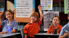Students during their bilingual classes at Richmond West Primary school: Hands up for a better Asian language plan