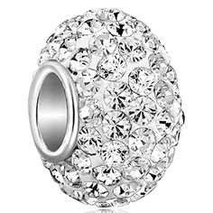 538e24e61 925 Sterling Silver White Birthstone Charms Swarovski Elements Crystal Sale Bead  Fit Pandora Chamilia Bracelet Cheap