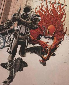 The best of the baddest and two cold blooded killers in their own right! Eddie Brock (Toxin) and Flash Thompson (Venom) from Venom #35.