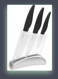 """Zhuhai Premium Ceramic Kitchen Knife Set – Includes 4″ Paring Knife, 5 ½"""" Chef's Knife, 6″ Chef's Knife & Bonus Holder Block"""