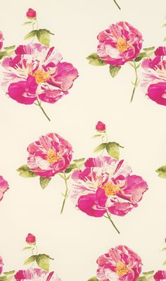 Lorca Belle De Mai #fabric,  MLF2043-01.  Belle de Mai is the name given to honour the rose, the most beautiful of flowers.  Large roses in tones of bright pink and red are printed on two grounds, white and anthracite which is almost black.  {http://www.osborneandlittle.com/lorca/imperia-fabrics/belle-de-mai/#} via delight by design