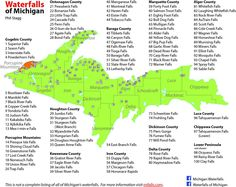 Chart of some of Michigan's waterfalls & where they are located--WOM