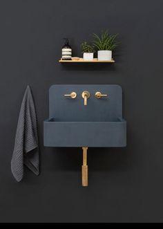 Kast Launches Collection of Patterned Concrete Basins Called Kast Canvas - Design Milk - Sink I black wall I copper faucet I black sink I Kast Launches Collection of Patterned Concrete Basins Called Kast Canvas -