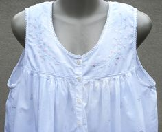 v  NECK IS noT TOO lOW     Vintage Gilligan & O'Malley White Cotton Nightgown with Pink Floral Embroidery