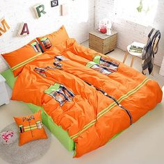 Fashion Orange T-Shirt Shape 4 Piece Bedding Set - Shelayer.com Cheap Bedding Sets, Bedding Sets Online, Modern Bed Sheets, Orange T Shirts, Bed Sheet Sets, Getting Pregnant, Comforters, Shirt Designs, Blanket