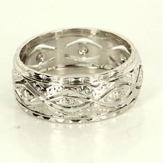 Antique Art Deco 14 Karat White Gold Diamond Wedding Band Stack Ring Vintage $695