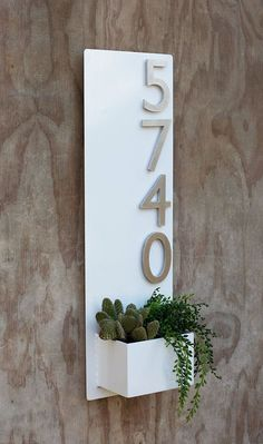 x White Succulent Hanging Planter & Metal Address Plaque - Vertical Wall Planter with Brushed Aluminum Address Numbers Succulent Hanging Planter, Vertical Wall Planters, Hanging Planters, Planter Pots, Concrete Planters, Succulent Terrarium, Address Plaque, Address Numbers, Sweet Home
