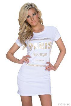 Paris minikjole - Fin bomulds minikjole med guld print. Materiale: Bomuld 95%, elastan 5% Kr. 229,-