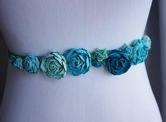 Teal Turquoise Flowers Wedding Sash Belt  Small Shabby by Wedideas, $16.00 Flower girls!!!