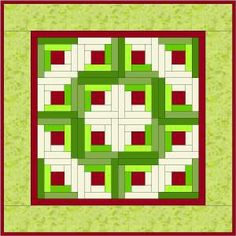 Paper Pieced Log Cabin Wreath Instructions and pattern