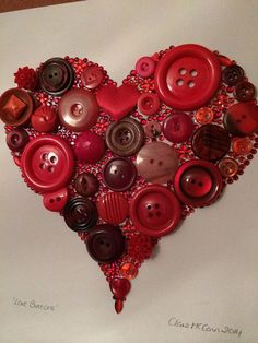 Framed Heart Button Art & Buttons& by CraftyButtonNI on Etsy. Valentines Day Decorations, Valentine Day Crafts, Be My Valentine, Holiday Crafts, Button Art, Heart Button, Button Crafts For Kids, Victorian Crafts, Heart Crafts