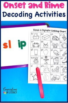 Onset and Rime Breaking Words Apart Building Word Fluency Activities for a great worksheet alternative! These phonics games are for teaching your students to decode words into onset and rimes during guided reading small group time, reading interventions, or literacy centers for first grade, second grade and third grade. #phonics #decoding #guidedreading #readinginterventions #literacycenters #fluency #conversationsinliteracy #classroom #elementary