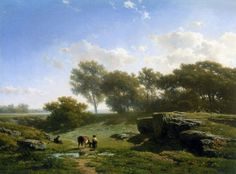 willem roelofs cown and shepherd in summer landscape, oil on canvas. Summer Landscape, Landscape Art, Landscape Paintings, Dutch Painters, European Paintings, Dutch Artists, 15th Century, Animal Paintings, Country Life