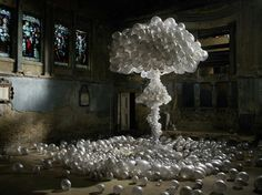 Mushroom cloud | Set designer Anna Burns has collaborated with Michael Bodiam on a new series inspired by catastrophe: craft versions of nuclear mushroom clouds and other disasters, using flowers and balloons.