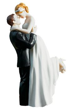 Handpainted Classic Bride and Groom Porcelain cake topper