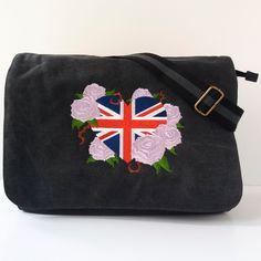 Black canvas messenger bag, despatch bag, college bag, heart bag, Union Jack bag, shoulder bag, cross body bag, back to school, work bag. by JaneAtNumber13 on Etsy