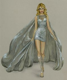 """Illustration by Jane L Kennedy for Victoria's Secret Fashion Show 2013 - """"Snow Angels"""" look for Taylor Swift"""