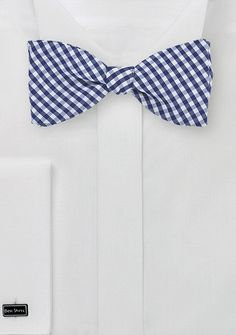 Micro Gingham Check Bow Tie in Navy Blue, $15 | Cheap-Neckties.com