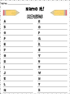 Great game for your word work or writing center.  Students name an item for each letter of the alphabet based on a given category.