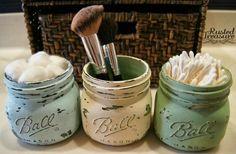 DIY Painted Mason Jars....cute idea for bathroom organization. by Amy Barber