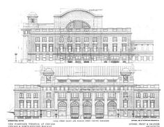 The elevation drawings for the Chicago and Northwestern Terminal Train Station in Chicago