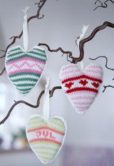 strikke julehjerter