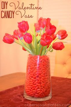DIY Valentine Candy Vase; a great gift idea for combining candy and flowers!//cheeriosandlattes.com