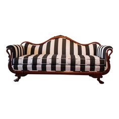 Victorian sofa reupholstered in striped sunbrella fabric on the back and front with carved wooden roses, swan neck arms and four claw feet. This sofa is in great shape with amazing carved detail. Victorian Style Furniture, Victorian Couch, Black And White Sofa, White Sofas, My Furniture, Unique Furniture, Rococo Furniture, Repurposed Furniture, Pallet Furniture