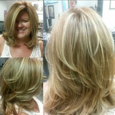 Blonde with red/brown base color on medium length layered hair  by Rhonda Brown @ Salon LaFaye