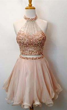 Two Piece Homecoming Dresses,Beaded Bodice Halter 2 Piece Short Prom Dresses,Sparkly Cocktail Dresses,1832