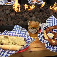 Munchen Haus - Leavenworth, WA, United States. Enjoying a keilbassi covered in sauerkraut, pilsner, and pretzel with cheese sauce at the heated table!