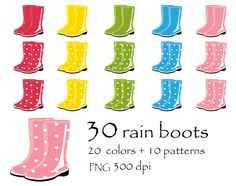 75% OFF SALE 30 colors rain boots, rainy day, autumn, fall Digital Clipart…