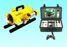 SeaOtter-2 ROV and topside control console - high performance remote controlled underwater vehicle with front and rear cameras