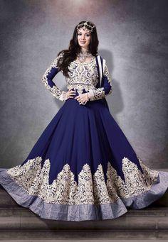 Dark Blue Faux Georgette Abaya Style Churidar Kameez: KCR6418