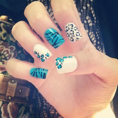 turquoise and white nails - cheetah and zebra print
