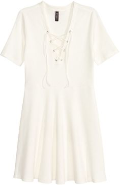 H&M - Ribbed Dress with Lacing - White - Ladies