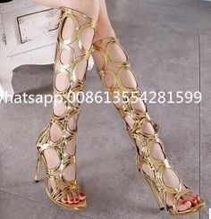 Gladiator Designer Gold Black Fashion Fretwork Decoration Summer Knee High Sandals Rome New Arrival Women Sexy High Heels Sandal