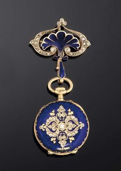 A late 19th century gold, diamond and enamel pendent watch  The circular dial with Arabic numerals, within a blue guilloché enamelled case with old and rose-cut diamond floral motif to reverse, suspended from a blue enamel and rose-cut diamond palmette surmount, jewelled lever movement signed Le Coultre & Cie, circa 1890