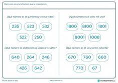 Ficha de identificar números para primaria